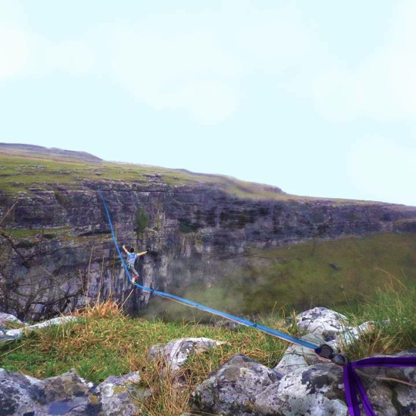 My photoshopped image of Sarah on the line BEFORE ever going to Malham. Apart from the snow, it wasn't too far off!